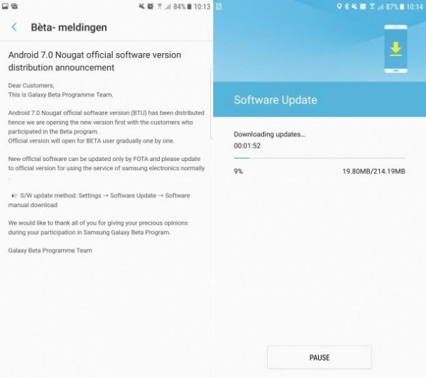 三星向S7/S7 edge推送Android7.0更新