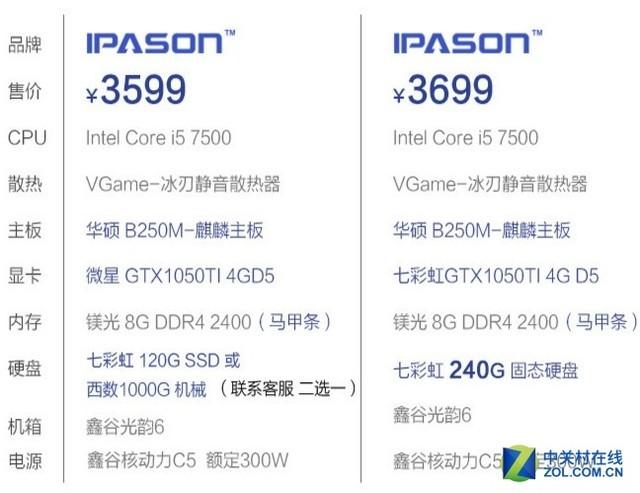 锋锐性能 攀升7500/1050Ti主机热卖