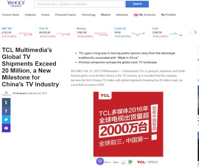 海外媒体热议中国彩电业新里程碑  TCL席卷北美