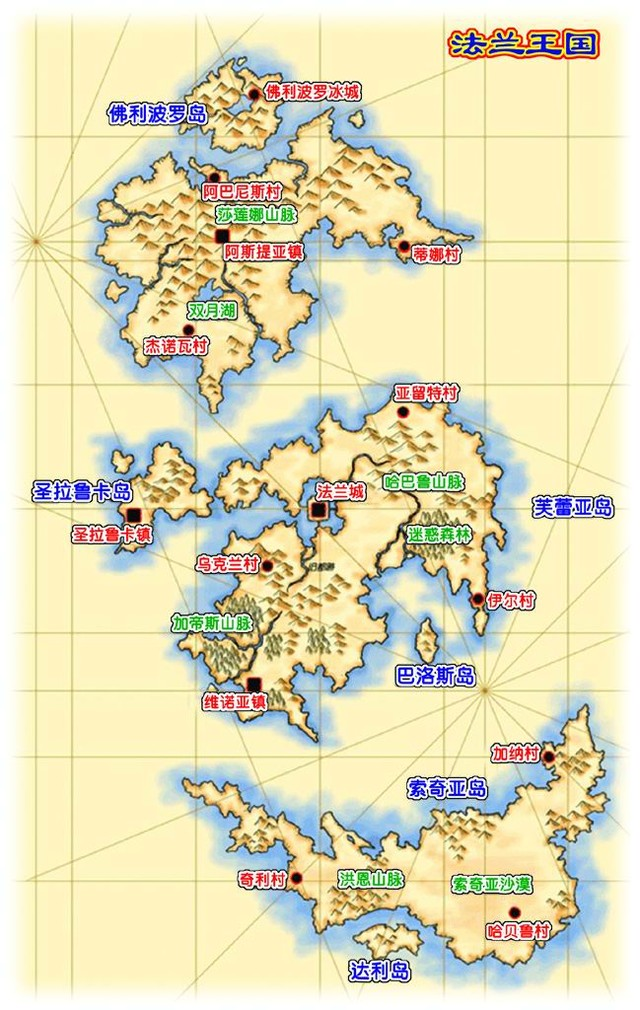 魔力宝贝 法兰王国地图(图片来源于网络)