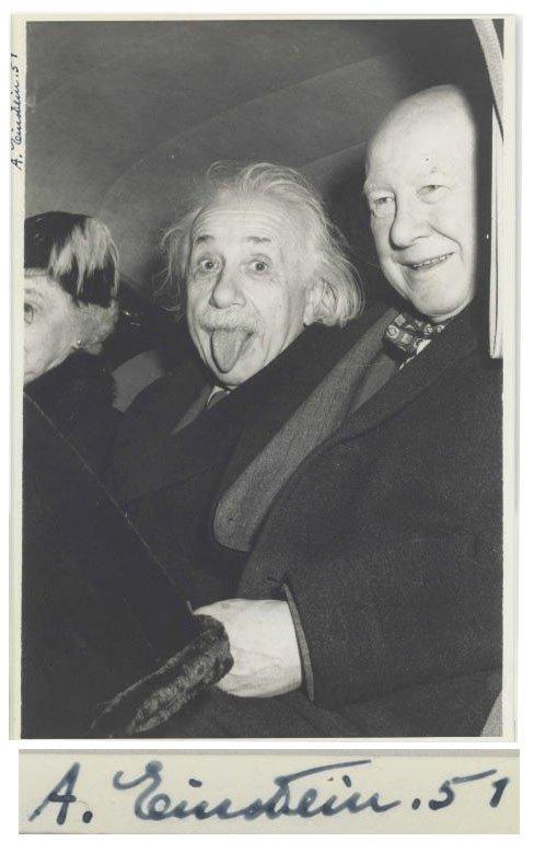 """爱因斯坦经典""""吐舌照""""拍卖:12.5万美元成交"""