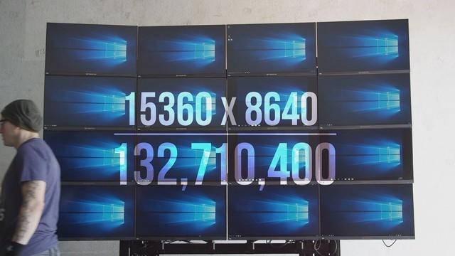 震撼16K画面!4块专业显卡+16台显示器