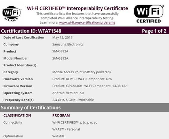 三星S8 Active通过WiFi认证 发布在即