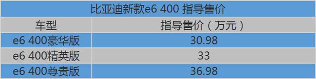 比亚迪新款e6 400上市 指导价30.98万起