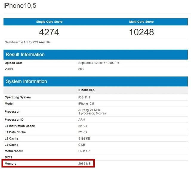 iPhone X/8/Plus内存确认 没2GB都是3GB
