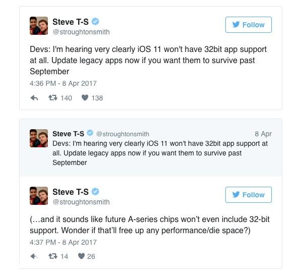 开发者注意 iOS11完全停止支持32位应用