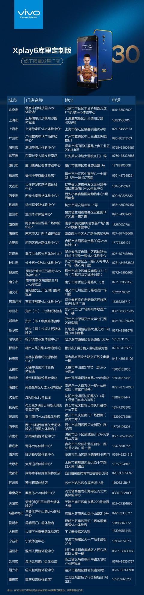 球迷最爱 vivo Xplay6库里定制版预售