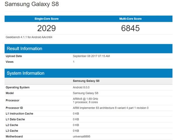 三星S8将搭载安卓8.0 跑分成绩被曝光