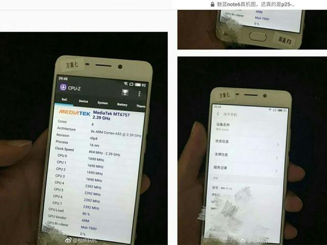 魅蓝Note 6详细配置再曝光:联发科P25+双摄