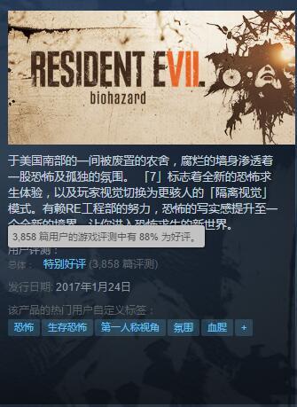国区第三《生化危机7》Steam销量超20万