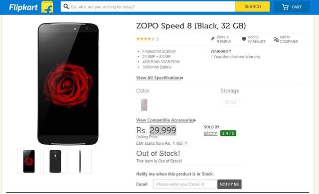 约合2979元 ZOPO Speed 8登陆印度市场