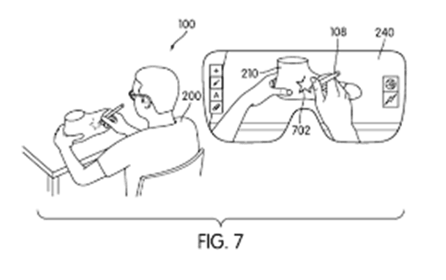 AR市场大混战?Nike获得现实增强专利(图片来自于geekpark) 从专利的设计图中可以看出,设计师可以通过头戴显示设备更加轻松的对虚拟物品的设计进行修正。屏幕上所显示出的图像都是基于现实环境所产生的,这也可以让设计师更准确的进行设计并在虚拟物品上画出专属的LOGO。而在这项设计系统中,触控笔扮演了重要的角色,触控笔可以选择不同的工具改变虚拟物品的形状以及设计风格。同样的设计方式也可以运用到衣服、裤子、运动鞋甚至帽子的身上。 Nike早在2014年就曾提交了这项专利,美国专利局在2015年3月对这项