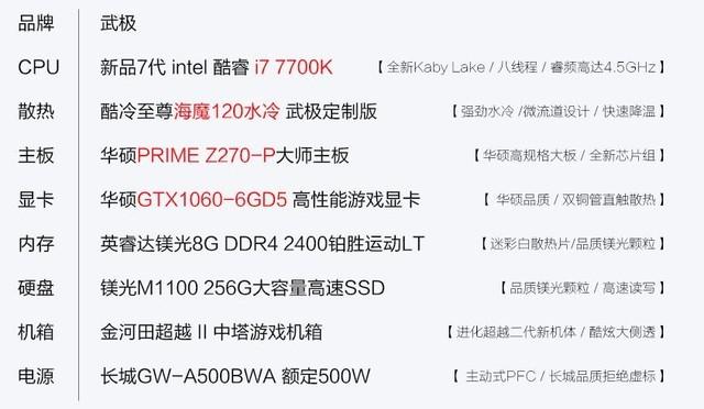 超级吃鸡主机 武极7700K/1060主机热卖