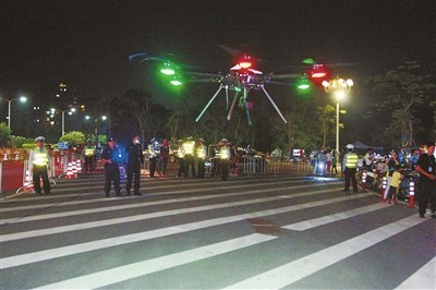 重阳节登山 广东斗门警方用无人机巡逻