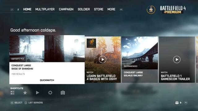 《战地4》ps4和xb1版更新 新ui界面图片