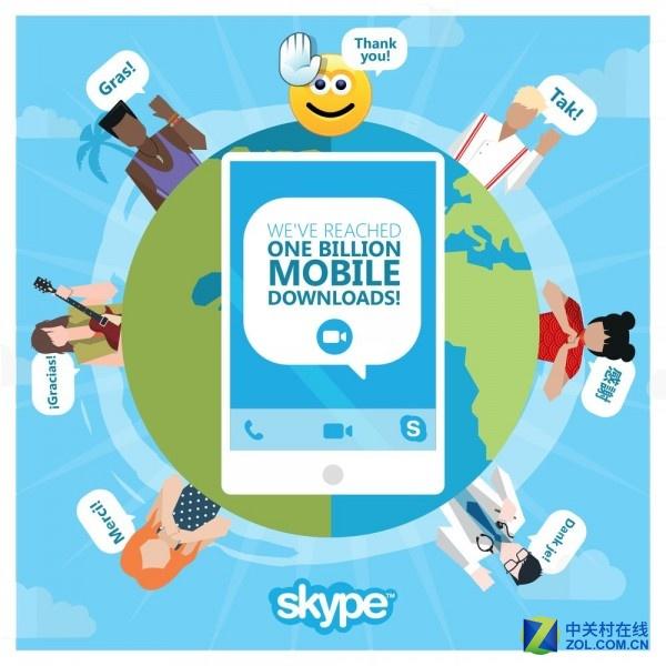 移动端Skype应用下载量突破10亿里程碑