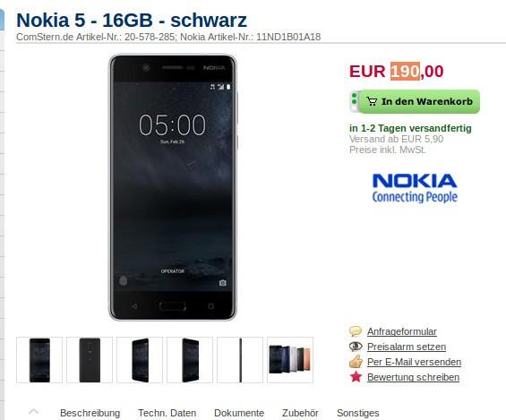 诺基亚5德国开售 最低190欧元可带走