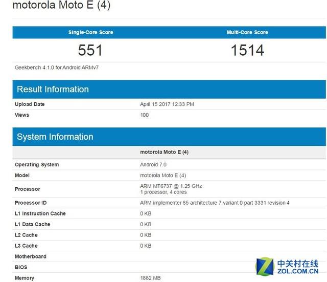 Moto E4现身Geekbench 配置定位入门