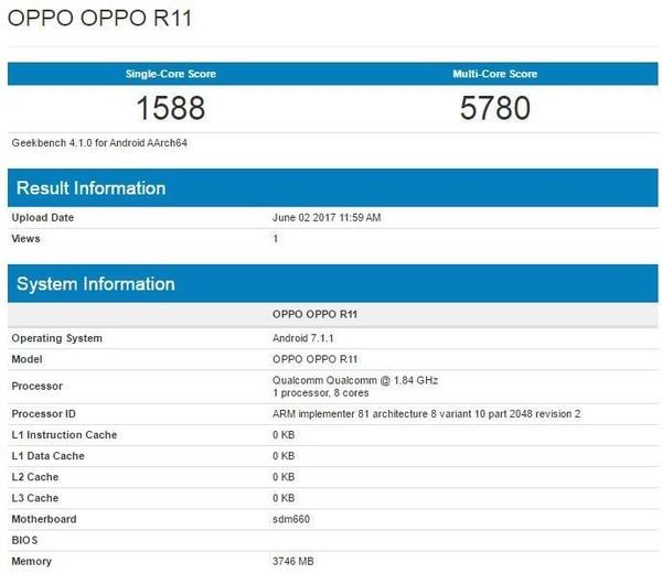 OPPO R11跑分曝光 骁龙660实力有点强