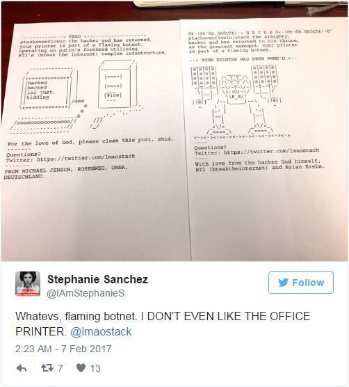 16万次入侵 你的打印机可是沉默羔羊?