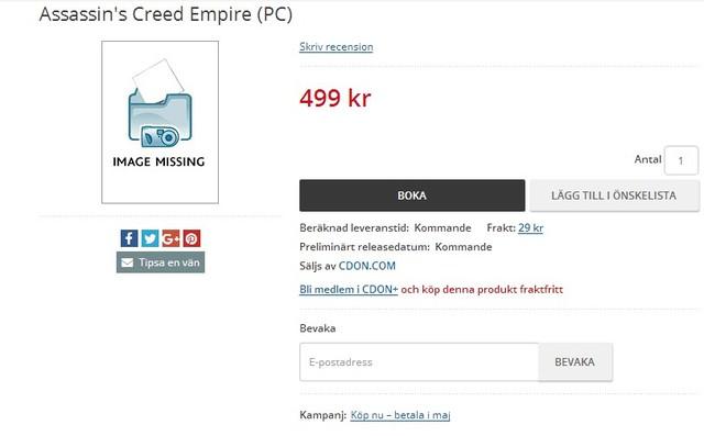 《刺客信条:帝国》已上架开卖 10月发售