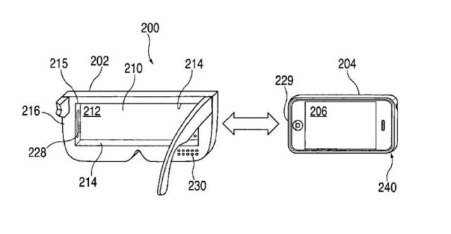 这个「头显」包括内置的耳机,与iphone相连的lightning接口,眼镜状的