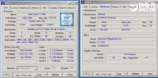 Intel i7-7700K暴超7GHz:跑分惊呆