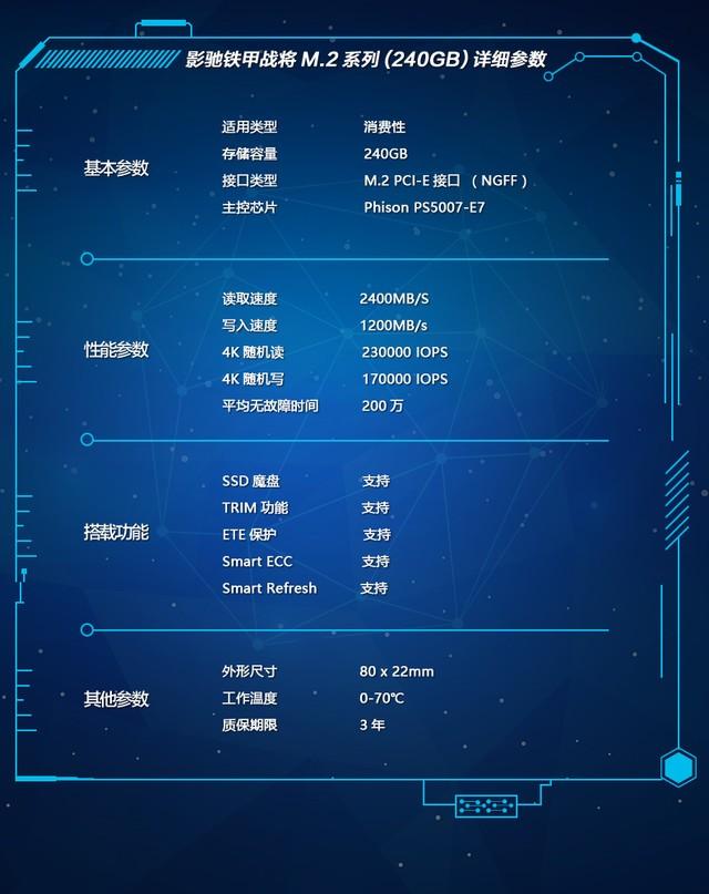 影驰铁甲战将240 M.2 PCI-E SSD火爆热售